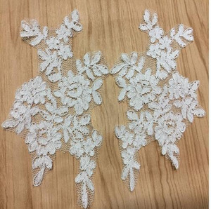 French White lace patch with silver bones wedding dress DIY materials theatrical costume Dress accessories