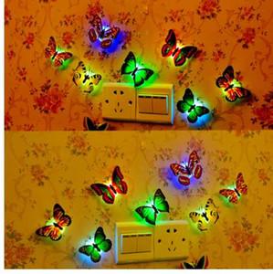 En Yeni Yaratıcı Renkli Kelebek Gece aydınlatması LED Güzel Ev Yatak Odası Dekoratif Duvar Night Lights Renk Rastgele
