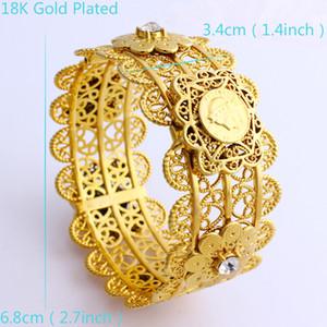 Nuovo lusso Donna Big braccialetto largo CARVE Baht tailandese testa ritratto di monete 22 k Belle solido gioielli d'oro GF Dubai Bracciali aperto con CZ Knit fiore