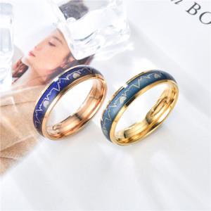 Großhandelsringe koreanische Version ECG Paar Ring Edelstahl Herzschlag Männer Frauen Paar Ring Titan Stahl Temperatur die Farbe wechseln Ring