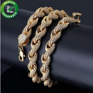 Ich Out Chains 힙합 쥬얼리 Mens Luxury Designer Necklace 다이아몬드 큐브 링크 체인 패션 챠임 실버 골드 마이크로 포장 CZ Rap