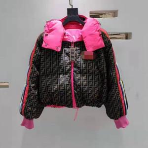 여성 겨울 재킷 스타 같은 스타일의 활주로면 재킷 패딩 파카 짧은 코트 다운 패션 후드 FF 문자 인쇄면 의류 상판