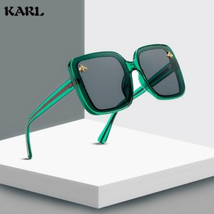 Fashion Women Bee Sunglasses Retro Square Sunglasses Plastic Square Frame Coated Mirror Ladies Eyewear Female Shades Uv400 tyjcj
