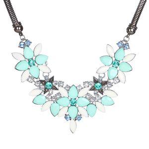 Colar Vintage Personalidade Exagerada Rhinestone cristal Flor Colar curto Cadeia De Clavícula Feminino Moda Jóias