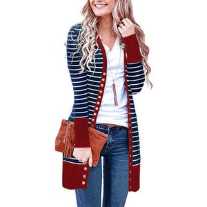 Autumn and winter Wholesale Sweaters Patchwork Snap Button Down Striped Long Sweater Cardigans 2341