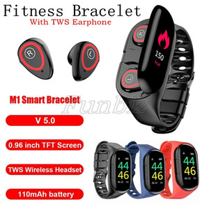 M1 AI inteligente Reloj Hombres Mujeres inalámbrica Bluetooth para auriculares Presión arterial Frecuencia cardíaca Headset pulsera Auriculares 2 en 1 TWS auriculares ergonómicos