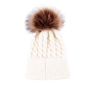 2017 Newborn Cute Winter Baby Hat Fur Ball Pompom Cap Kids Girl Boy Winter Knitted Wool Hats Caps