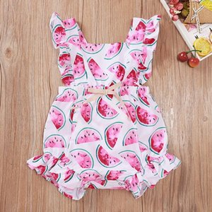 Baby Girls Watermelon Bandage Rompers Summer Kids Boutique Clothing Infant Toddlers Sleeveless Triangle Onesies