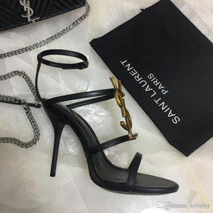 10.5cm Kadın ayakkabı Deri malzeme boyutu 35-41 X3 2019 Şerit kombinasyon Fine Yeni moda bayanlar yüksek topuklu