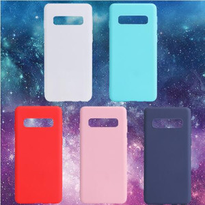 Silikon Yumuşak TPU Kapak Kılıf Samsung Galaxy S10 S10e S9 S8 Artı Not 8 9 A7 A9 A8 2018 Kristal Mat Şeker Düz Renk Kapak