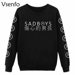 Vsenfo Sad Faces Sweatshirt Frauen Lustige Emoticon Ärmel Gedruckt Tumblr Sad Boys Hoodies Harajuku Trainingsanzug Kleidung Jumper Top
