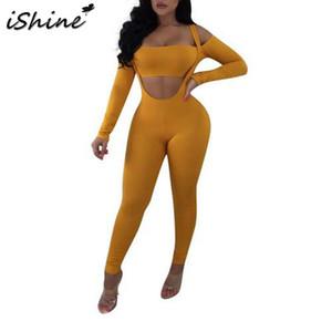iSHINE femmes mode sexy couleur unie hors Dragonne taille haute Pantalon Costume Jumpsuit manches longues évider Pull