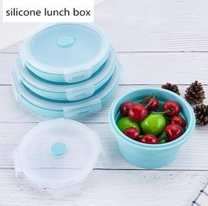 4PCS / SET pliante Portable Boîtes à lunch en silicone Bento Box Cuisine Aliments Conteneurs étudiants Boîte à lunch pour pique-nique camping en plein air Utilisation