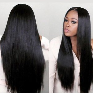 Wigs European and American wigs female long straight hair black mid-point African wig chemical fiber hood