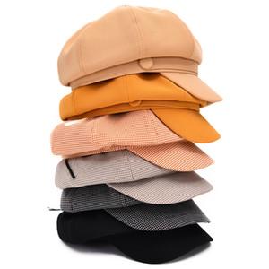 Sboy Hats MAOMAOFUR Vintage Cap Female Octagonal Hat Casual Plaid Spring Autumn Ladies Painters Beret Fashion