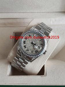 luxury Hot Sell Moda Unisex Orologi 36 mm 118346 Day Date President Roman Dial Asia Meccanico Automatico Unisex Platinum Diamond Bez