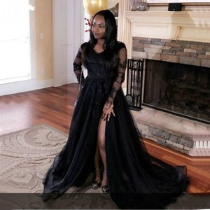 Black Girls Illusion Bodice Long Sleeve Evening Dresses Sweep Train Formal Evening Party Gowns Prom Dress With Side Split Plus Size