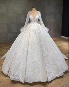 Vestido de fiesta con plumas de encaje con lentejuelas de champán vintage Vestidos de novia Vestidos de lujo de manga larga Tallas grandes Arabia Saudita Vestido de novia árabe