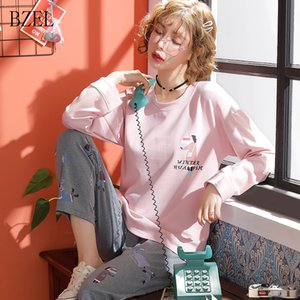 BZEL New Lady Cartoon Pijamas de primavera y otoño de algodón Pijamas de manga larga Algodón de las mujeres Conjuntos casuales de invierno Conjunto de pijamas de mujeres