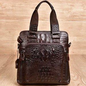 Crocodile pattern suede leather briefcase genuine leather men's shoulder bag portable men's messenger bag female totes handbag