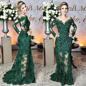 Étincelant vert foncé mère de la robe de mariée manches longues pure cou étage longueur sirène robe de soirée robes de mariée