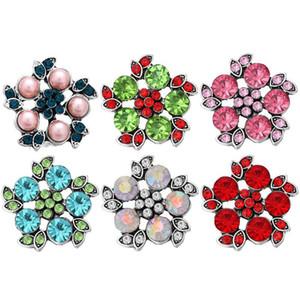 Rhinestone rhinestone Mücevherli Çiçek Snap Düğmesi Takı için 18mm Snap Düğmesi Bilezik Kolye Yüzük Takı