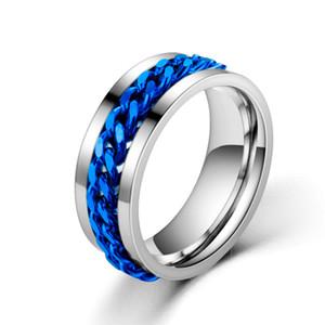 Homens Spinner Anéis, Fidget Ring, banda de aço inoxidável, preto, prata, azul, ouro, tamanho 6-13