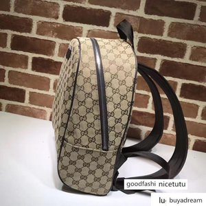 Celebrity Letter Embossed Brown Leather Backpack Man Woman 449906 Canvas Travel Bag