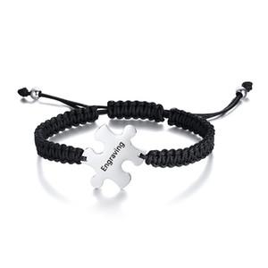 Corda personalizado pulseira de aço inoxidável Adjsuatble Custom Name Engrave Placa ID Bracelet Quebra-cabeça Forma para as Mulheres Homens partido