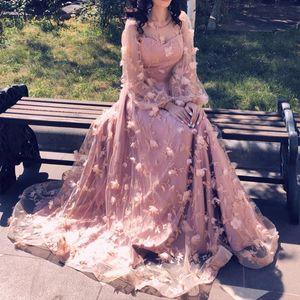 Принцесса Новые Длинные Рукава Цветок Вечерние Платья Длинные Мода Элегантный Сексуальный Пляж Партии Выпускного Вечера Платья