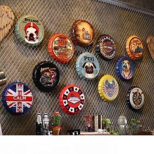 Creative Metal Beer Bottle Cap Artcrafts Retro Stickers Wall Decoration Vintage Bar Coffee Shop Home Decoration Accessories 35cm