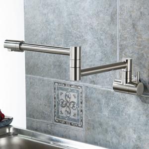 Katlanır tek mutfak musluk lavabo pot dolgu musluk soğuk su duvar montaj musluk pirinç musluk krom fırçalanmış nikel yağ ovuşturdu