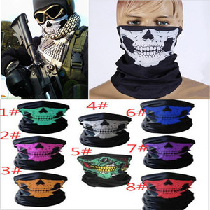 unisex Halloween Cosplay Bicycle Ski Skull Half Face Mask Ghost Scarf Bandana Neck Warmer Party headband Magic Turban balaclava DA373