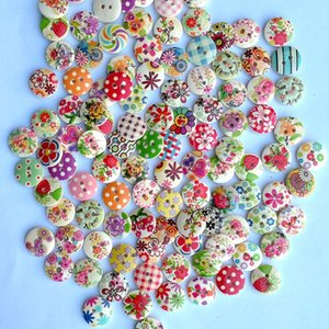 Mixed two-eye printing buttons children's handmade stickers jewelry 15mm round wooden buttons cartoon buttons