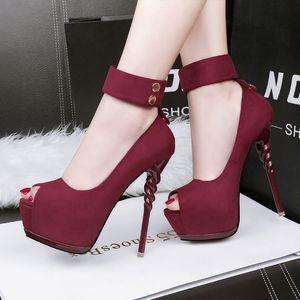 Mulheres Bombas sapatos da moda Flock Peep Toe 14cm Fino Salto Alto Shallow 5cm plataforma sólida Sexy Lady Club Party Sapatos de salto alto com caixa