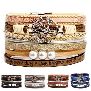 Boho Multilayer Arbre de vie en cuir large manchette main poignet Bandeaux Boucle magnétique Tressé Perle Casual Bracelet pour les femmes fille