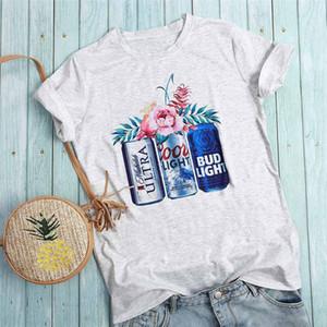 Bière Print Top été gris T-shirt des femmes O-cou Hauts T Casual Taille Plus Femmes T-shirts Fleurs T-shirt Femme en vrac Top