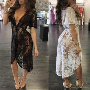 V-neck See Through Summer Beach Smock Dress Women Sexy Black White Lace floral Dresses Deep