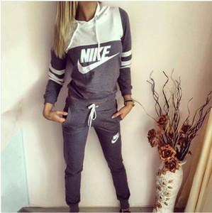여자 의상 긴 소매 2 개 세트 운동복 조깅 sportsuit 셔츠 레깅스 의상 셔츠 바지 스포츠 정장 여성 의류 2044