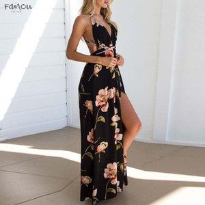 Dress Womens Summer Boho Maxi Long Dress Evening Sexy Party Polyester Beach Dresses Sundress Floral Robe Femme Summer Designer Clothes