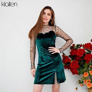KLALIEN francesa romántica protagonizada mini vestido bordado sencilla señoras elegantes Terciopelo camisola vestido de la tapa del cordón + 2020 fiesta de Navidad