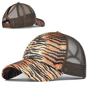 Cópia do leopardo de rabo de cavalo Bonés de beisebol Sequins Brilhante alta qualidade Womens moda malha Snapback Meninas ajustável Hat 120pcs IIA184