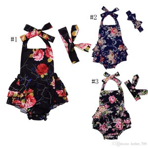 Ins Baby Girl Toddler 2piece Set Outfits Rose Floral Romper Onesies Jumpsuits Dress Bow Headband Backless Ruffles Tutu Halter Pants