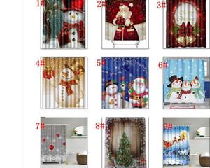 Novos desenhos de árvores de cortina de chuveiro do boneco de neve de natal sono padrão do boneco de neve do banheiro cortina de chuveiro de poliéster banho de natal cortina de 165 * 180 cm