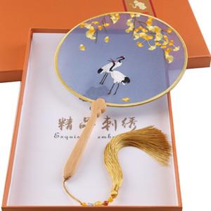 새로운 도착 중국 문화 실크 신부 브로치 팬 풍경 꽃 두 손 자수 선물 결혼식 용 액세서리