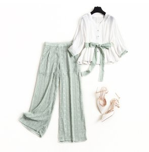 [Column] 2020 Spring European Jacquard Chiffon Suit Pants Female V-neck Shirt Suspenders Wide Leg Pants Three-piece 14022