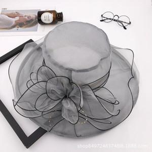 여자 메쉬 꽃 자외선 방지 모자 야외 선 스크린 비치 챙 모자 여름 넓은여 담 Foldable 호흡 숙녀 가제 태양 모자 LJJJ68