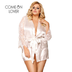 Comeonlover maniche in pizzo manica in seta per le donne abito da sposa con stringa G Raso corto Womens Robes Sleepwear RI80556