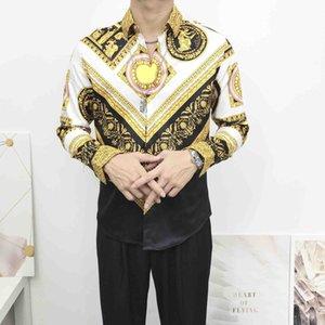 Fashion Designer Slim Fit Shirts Men 3D Medusa Black Gold Floral Print Mens Dress Shirts Long Sleeved Business CasualMedusa Retro luxury sh