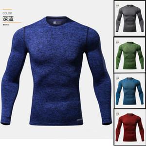2018 новый лучший мужская спортивная одежда с длинным рукавом Slim Fit хлопок футболки топы горячие продажи твердые простой